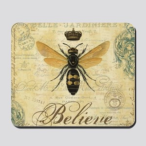 modern vintage French queen bee Mousepad