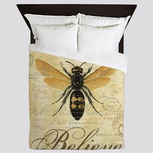 modern vintage French queen bee Queen Duvet