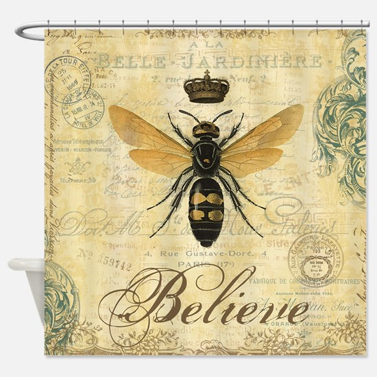 Modern Vintage French Queen Bee Shower Curtain