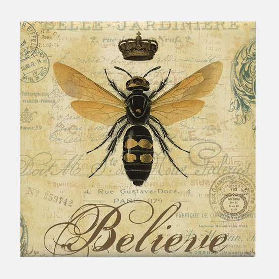 modern vintage French queen bee Tile Coaster
