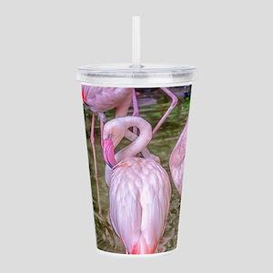 Pink Flamingos Acrylic Double-wall Tumbler