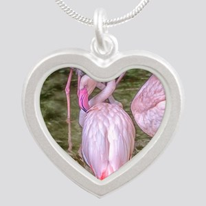 Pink Flamingos Silver Heart Necklace