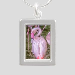 Pink Flamingos Silver Portrait Necklace
