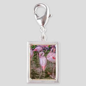 Pink Flamingos Silver Portrait Charm