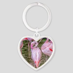 Pink Flamingos Heart Keychain