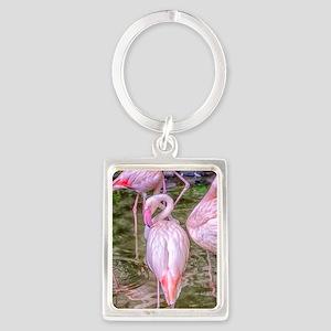 Pink Flamingos Portrait Keychain