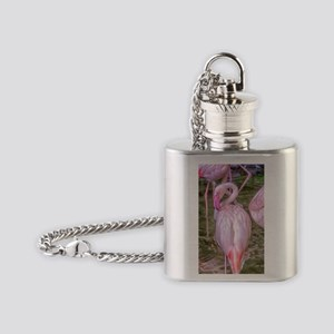 Pink Flamingos Flask Necklace