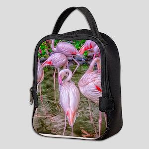 Pink Flamingos Neoprene Lunch Bag