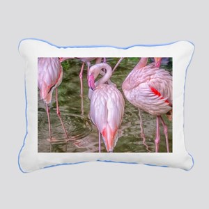 Pink Flamingos Rectangular Canvas Pillow