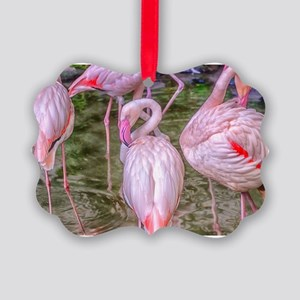 Pink Flamingos Picture Ornament
