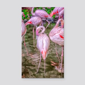 Pink Flamingos Rectangle Car Magnet