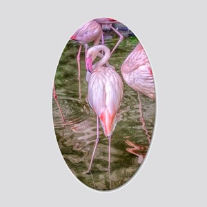 Pink Flamingos 20x12 Oval Wall Decal