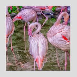 Pink Flamingos Tile Coaster