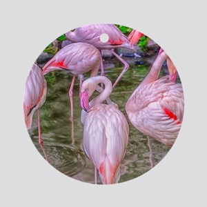 Pink Flamingos Ornament (Round)