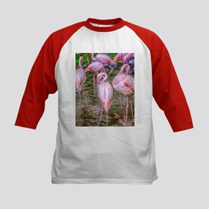 Pink Flamingos Kids Baseball Jersey