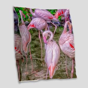 Pink Flamingos Burlap Throw Pillow