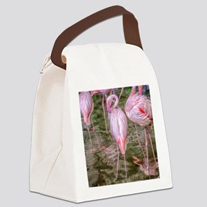 Pink Flamingos Canvas Lunch Bag