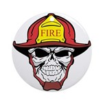 Skull Fireman Ornament (Round)