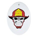 Skull Fireman Ornament (Oval)