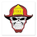 Skull Fireman Square Car Magnet 3