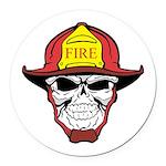 Skull Fireman Round Car Magnet