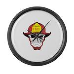 Skull Fireman Large Wall Clock