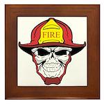 Skull Fireman Framed Tile