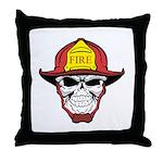 Skull Fireman Throw Pillow