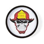 Skull Fireman Wall Clock