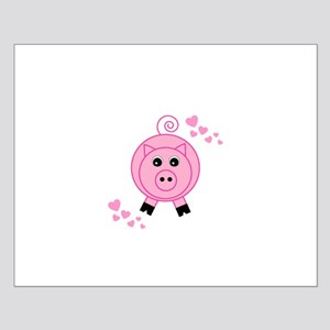 Pink Pig With Hearts Posters
