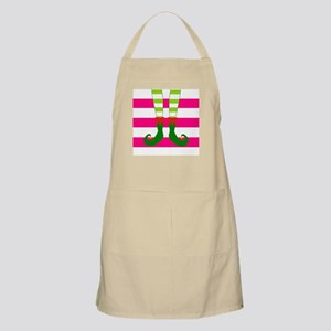 Elf Feet on Pink Stripes Apron