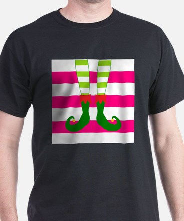 Elf Feet on Pink Stripes T-Shirt