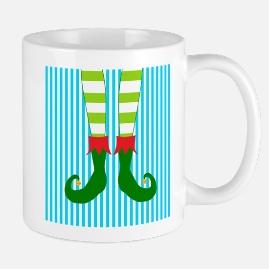 Elf Feet on Teal and White Stripes Mugs