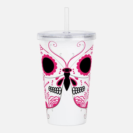 Sugar Skull Pink Butterfly.png Acrylic Double-wall