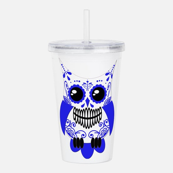 Sugar Skull White Blue Owl.png Acrylic Double-wall
