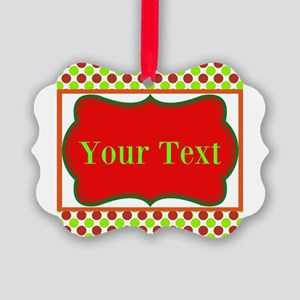 Personalizable Red and Green Polka Dots Ornament