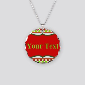 Personalizable Red and Green Polka Dots Necklace
