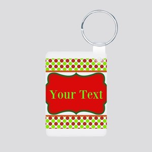 Personalizable Red and Green Polka Dots Keychains