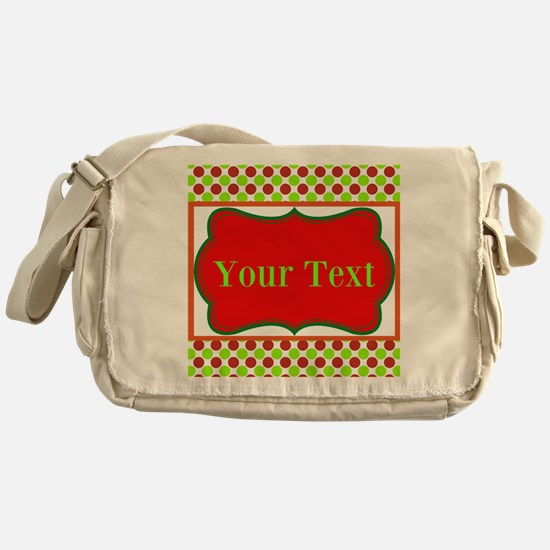 Personalizable Red and Green Polka Dots Messenger