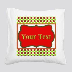 Personalizable Red and Green Polka Dots Square Can