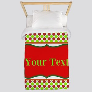 Personalizable Red and Green Polka Dots Twin Duvet