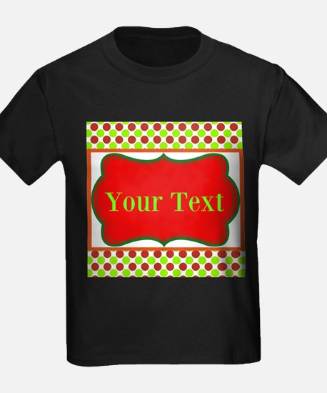 Personalizable Red and Green Polka Dots T-Shirt