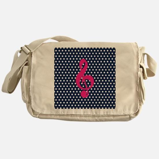 Pink Treble Clef Navy Polka Dots Messenger Bag