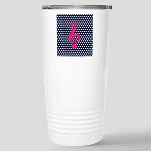 Pink Treble Clef Navy Polka Dots Travel Mug
