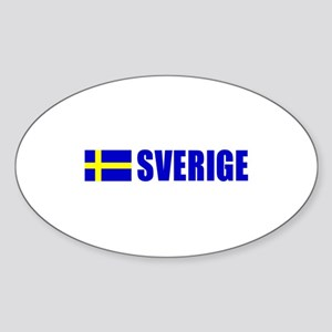 Sverige Flag Oval Sticker