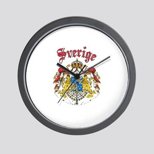 Sverige Coat of Arms Wall Clock