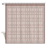 German Tile Brown And Creme Shower Curtain