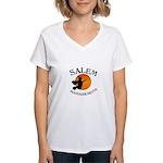 Salem Massachusetts Witch Women's V-Neck T-Shirt