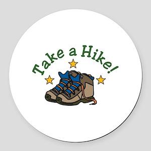Take a Hike! Round Car Magnet