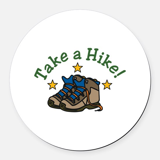 Take a Hike! Round Car Magnet